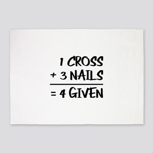 One Cross Plus Three Nails Equals F 5'x7'Area Rug