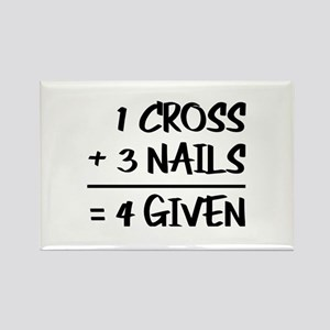 One Cross Plus Three Nails Equals Forgiven Magnets