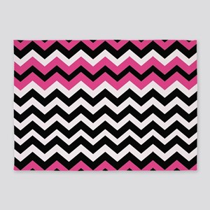 Hot Pink Black Bliss Chevron 5'x7'Area Rug