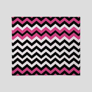 Hot Pink Black Bliss Chevron Throw Blanket