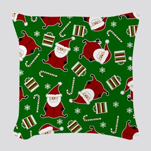 Cute Round Santa Holiday Pattern Woven Throw Pillo
