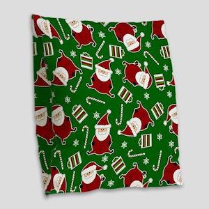 Cute Round Santa Holiday Pattern Burlap Throw Pill
