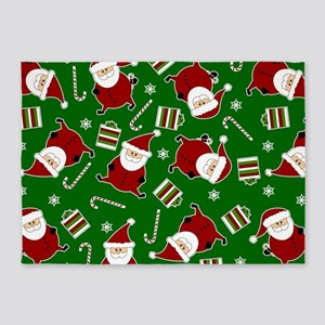 Cute Round Santa Holiday Pattern 5'x7'Area Rug