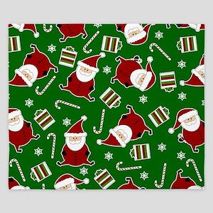 Cute Round Santa Holiday Pattern King Duvet