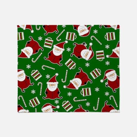 Cute Round Santa Holiday Pattern Throw Blanket