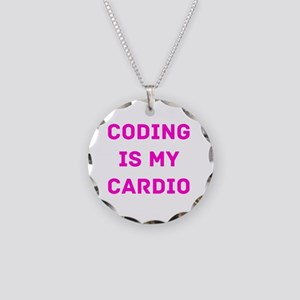 Coding Is My Cardio (Pink) Necklace Circle Charm
