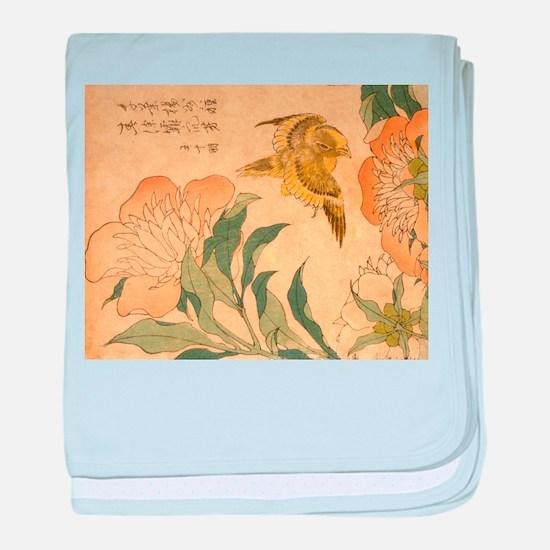 Peony and Canary by Hokusai Katsushik baby blanket
