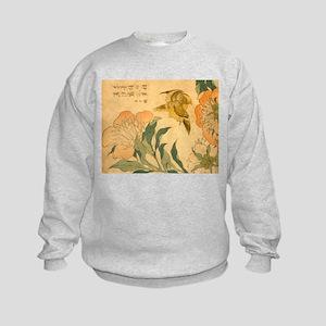 Peony and Canary by Hokusai Katsus Kids Sweatshirt