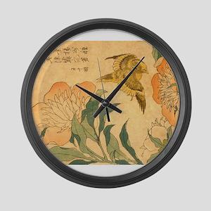 Peony and Canary by Hokusai Katsu Large Wall Clock