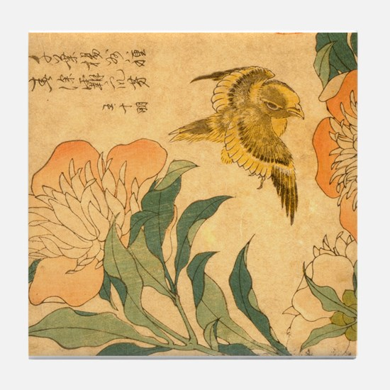Peony and Canary by Hokusai Katsushik Tile Coaster