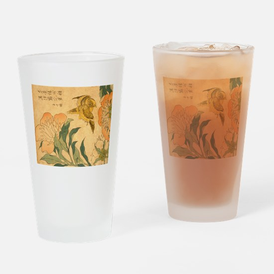 Peony and Canary by Hokusai Katsush Drinking Glass