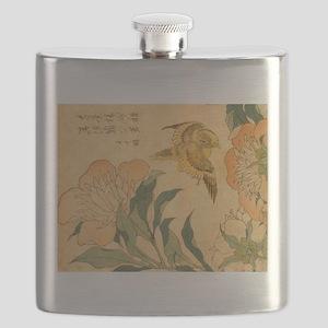 Peony and Canary by Hokusai Katsushika Flask