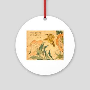Peony and Canary by Hokusai Katsush Round Ornament