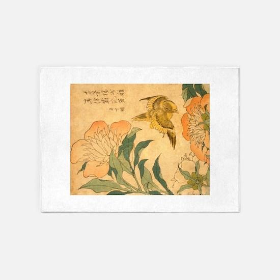 Peony and Canary by Hokusai Katsush 5'x7'Area Rug