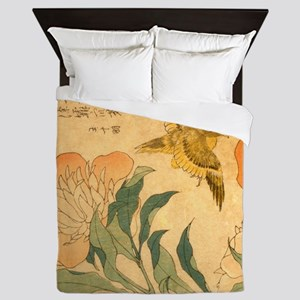 Peony and Canary by Hokusai Katsushika Queen Duvet