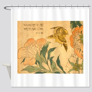 Peony and Canary by Hokusai Katsush Shower Curtain