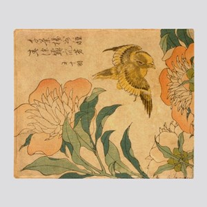 Peony and Canary by Hokusai Katsushi Throw Blanket