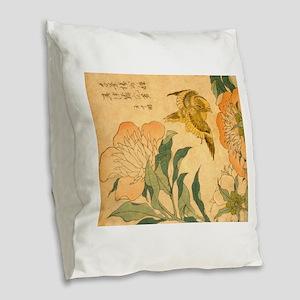 Peony and Canary by Hokusai Ka Burlap Throw Pillow