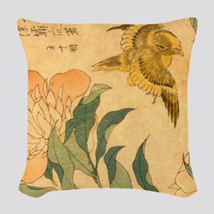 Peony and Canary by Hokusai Ka Woven Throw Pillow