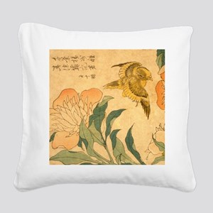 Peony and Canary by Hokusai K Square Canvas Pillow