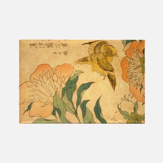 Peony and Canary by Hokusai Katsushika Magnets