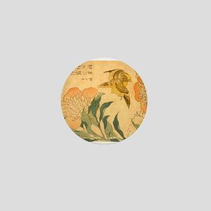 Peony and Canary by Hokusai Katsushika Mini Button
