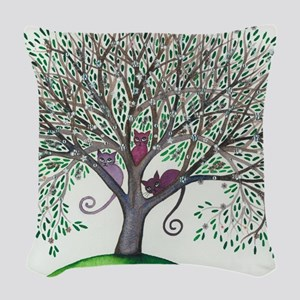Morovis Stray Cats in Tree Woven Throw Pillow
