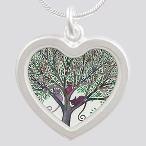 Morovis Stray Cats in Tree Silver Heart Necklace