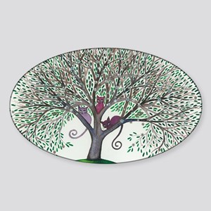 Morovis Stray Cats in Tree Sticker (Oval)