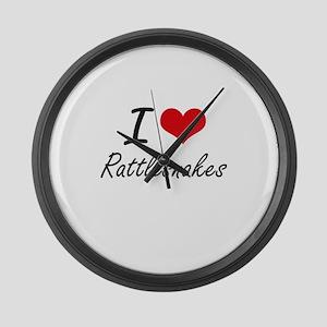I love Rattlesnakes Artistic Desi Large Wall Clock