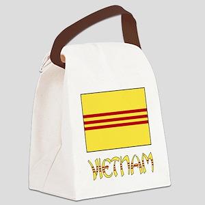 Vietnam Flag Name - Black Border Canvas Lunch Bag