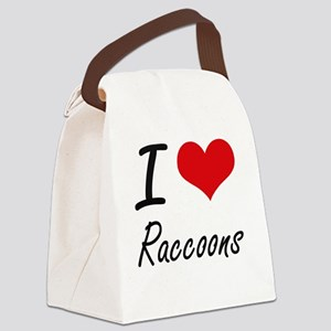 I love Raccoons Artistic Design Canvas Lunch Bag