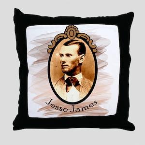 Jesse James Portrait Throw Pillow