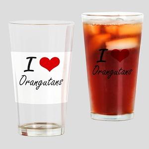 I love Orangutans Artistic Design Drinking Glass