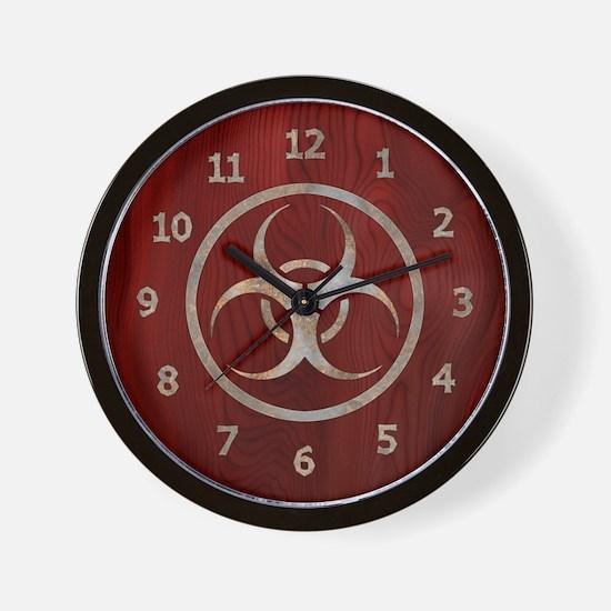 Wood & Metal Biohazard Wall Clock