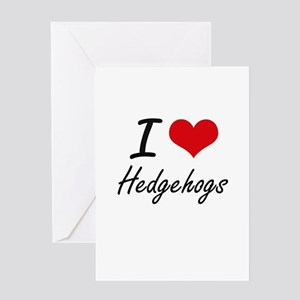I love Hedgehogs Artistic Design Greeting Cards