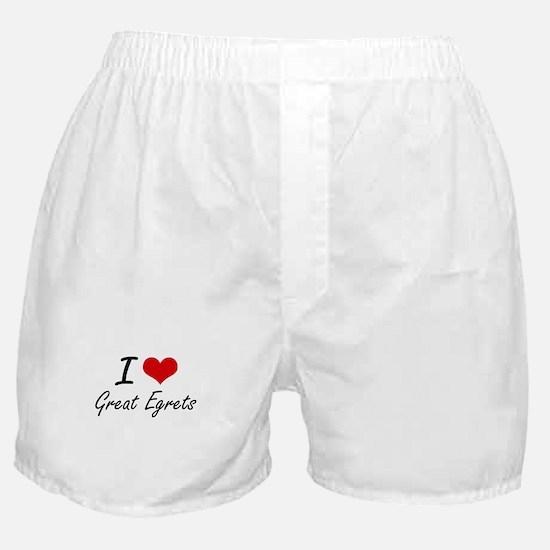 I love Great Egrets Artistic Design Boxer Shorts