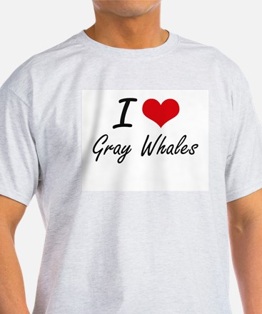 I love Gray Whales Artistic Design T-Shirt