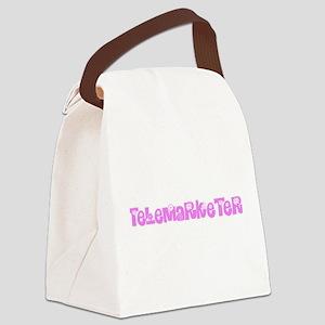 Telemarketer Pink Flower Design Canvas Lunch Bag
