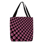 Pink Peace Symbols Polyester Tote Bag