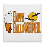 Happy HalloWEINER Tile Coaster