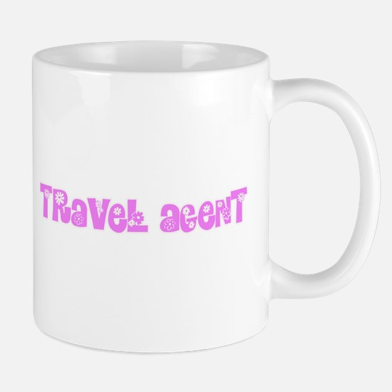 Travel Agent Pink Flower Design Mugs