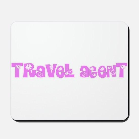 Travel Agent Pink Flower Design Mousepad