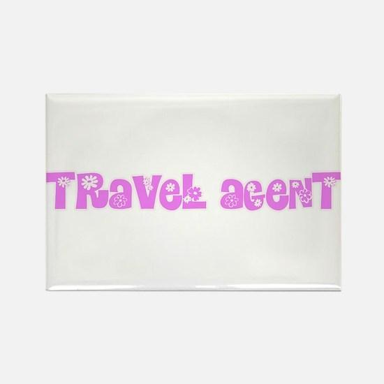 Travel Agent Pink Flower Design Magnets