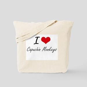 I love Capuchin Monkeys Artistic Design Tote Bag