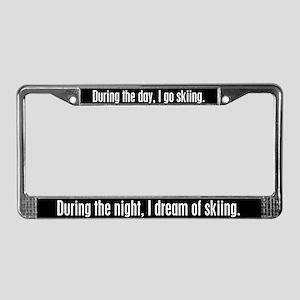 I Dream Skiing License Plate Frame