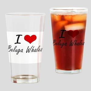 I love Beluga Whales Artistic Desig Drinking Glass
