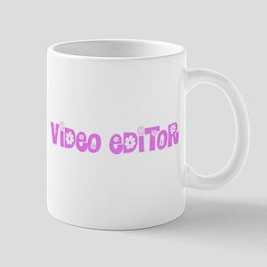 Video Editor Pink Flower Design Mugs