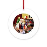 Santa's Great Dane (D) Ornament (Round)