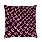 Pink Peace Symbols Everyday Pillow